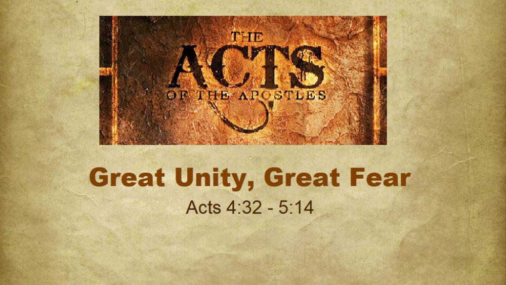 Great Unity, Great Fear